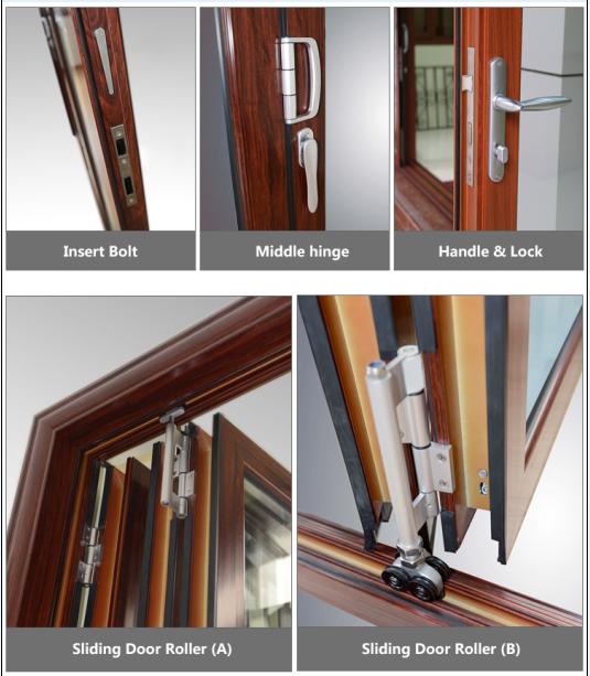 Exterior de aluminio comercial doble puertas plegables de - Puertas plegables exterior ...