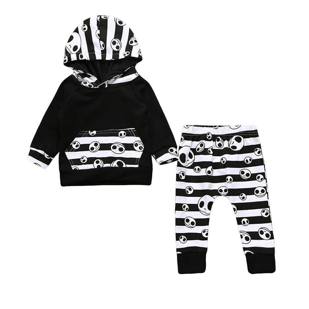 8236d217e395 Get Quotations · Yihaojia 2Pcs Halloween Set Costume Toddler Baby Boys  Striped Hoodie Ghost Tops Pants Outfits Clothes 6
