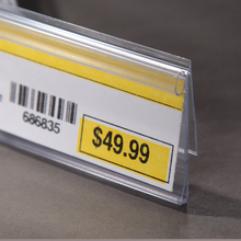 clear PVC sign digital price tags for shelves in supermarket plastic sign holder for displaying