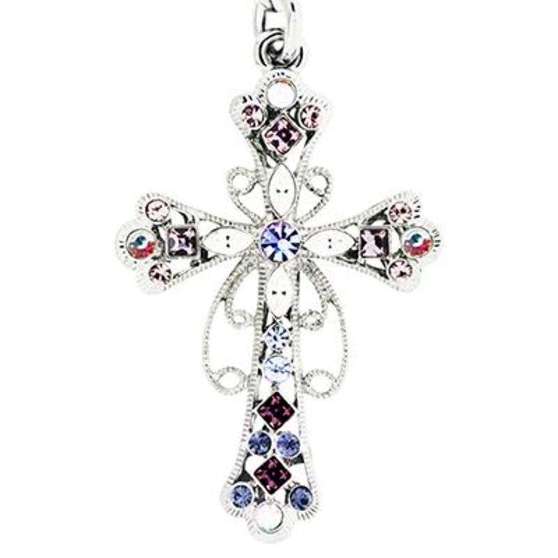 f9c8586da528b9 Get Quotations · Cross Crucifix Keychain Fob Key Ring with Swarovski  Amethyst Rhinestones