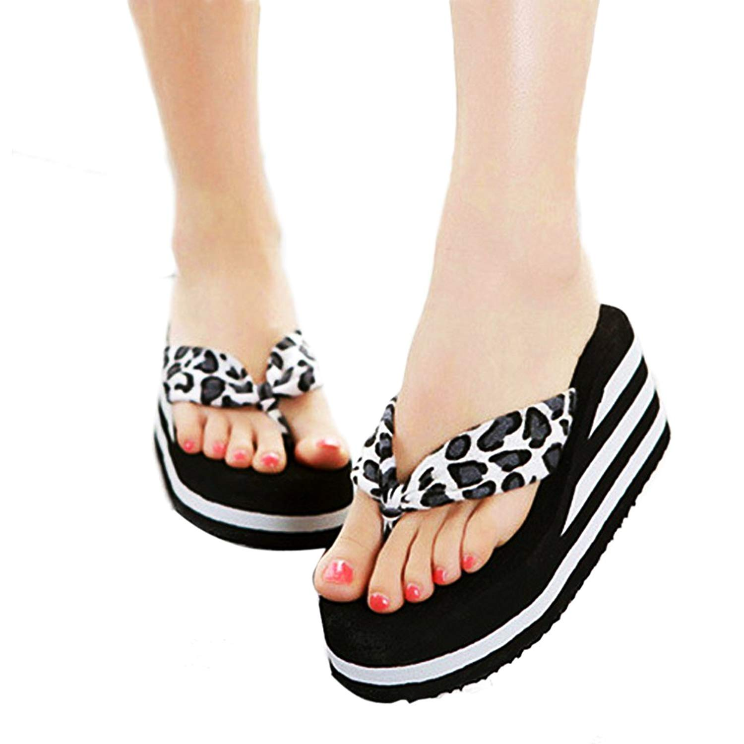 71516ac9cdc Get Quotations · HOBULL Women s Platform Flip-Flop Slippers Thong Sandals  Open Toe Wedge Slippers