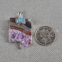 Exclusive design! Fashion pendant rough raw amethyst druzy jewelry 925 sterling silver