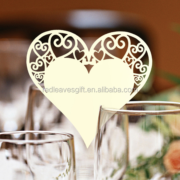 elegant customized heart shape design wedding place card