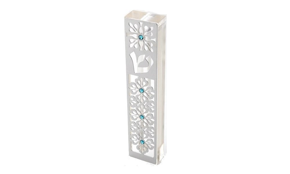 Dorit Judaica Mezuzah Case MZN-10 for 12cm scroll Perspex base cut out Stainless Steel with Swarovski Stones
