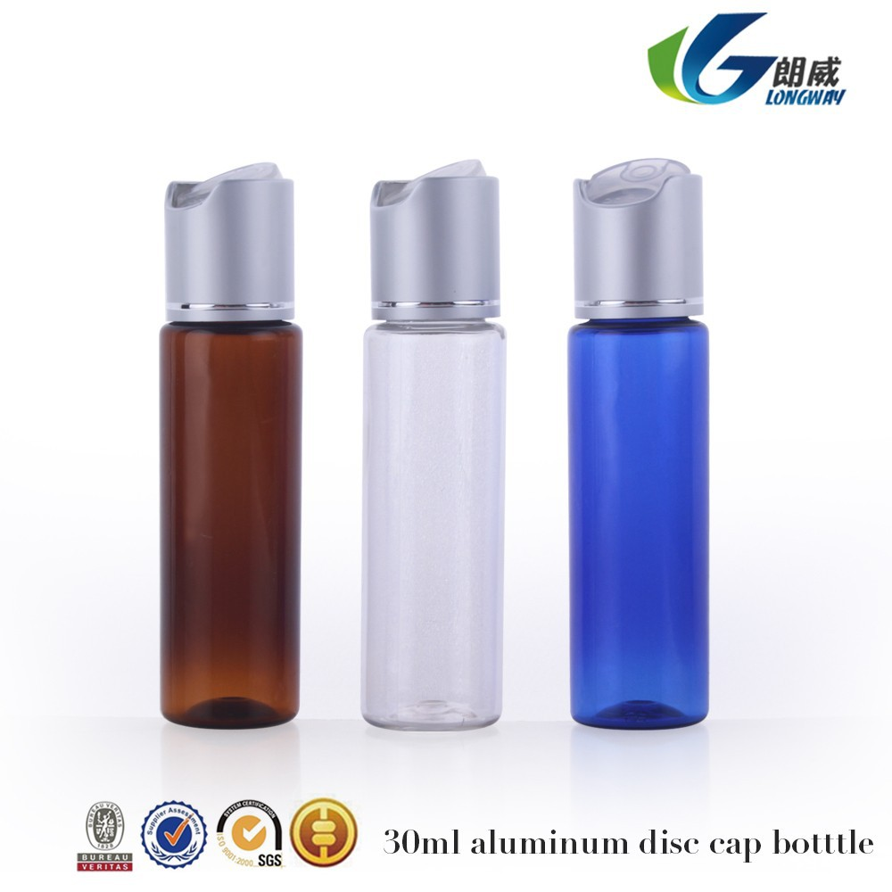 30ML transparent disc top cap plastic lotion/shampoo empty plastic <strong>bottles</strong>