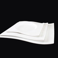 High quality fine bone china square plate round bottom flat plate porcelain ceramics tableware for hotel and restaurant