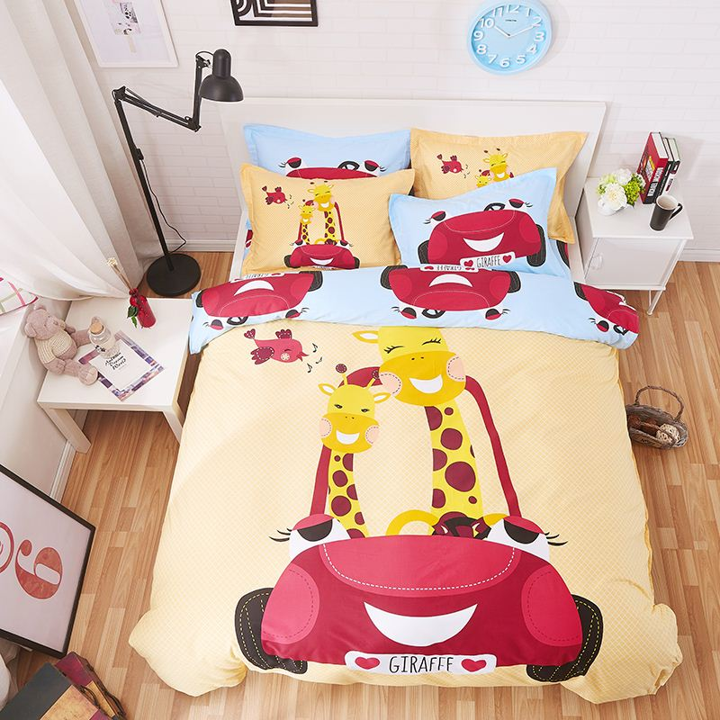 Home tetiles bedclothes,100% cotton child cartoon printed giraffe pattern bedding sets include duvet cover bed sheet pillowcase