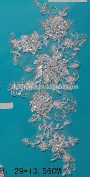 Indian beaded potong berlian imitasi renda bunga perbatasan