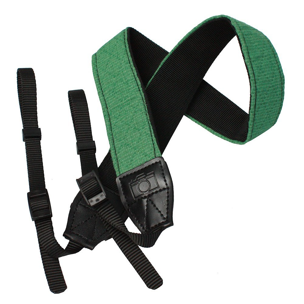 JAVOedge Green Fabric Universal Adjustable DSLR Camera Shoulder & Neck Strap for Nikon, Canon, Sony and More