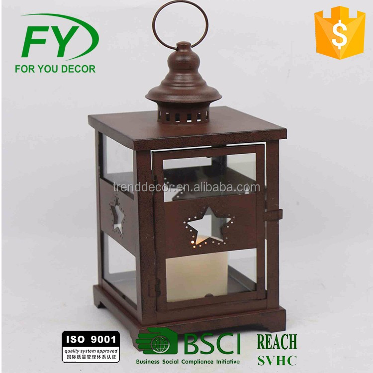 Best Handmade Decorative Rust Metal Lanterns With Star In Four Sides