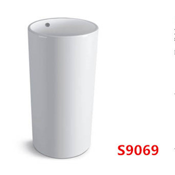 One Piece Round Small Pedestal Sink With High Quality S9077