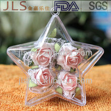 Cute clear star shaped PS ball food packing box plastic gift baubles