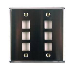 Six Port Dual Gang Stainless Steel Faceplate by Hellermann Tyton