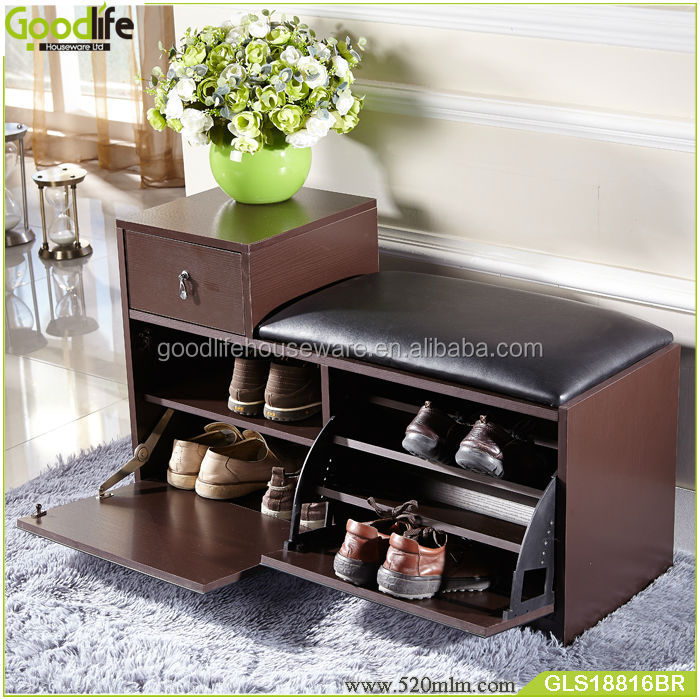 Latest Design Wood Shoe Rack With PU Seat From Goodlife Part 60
