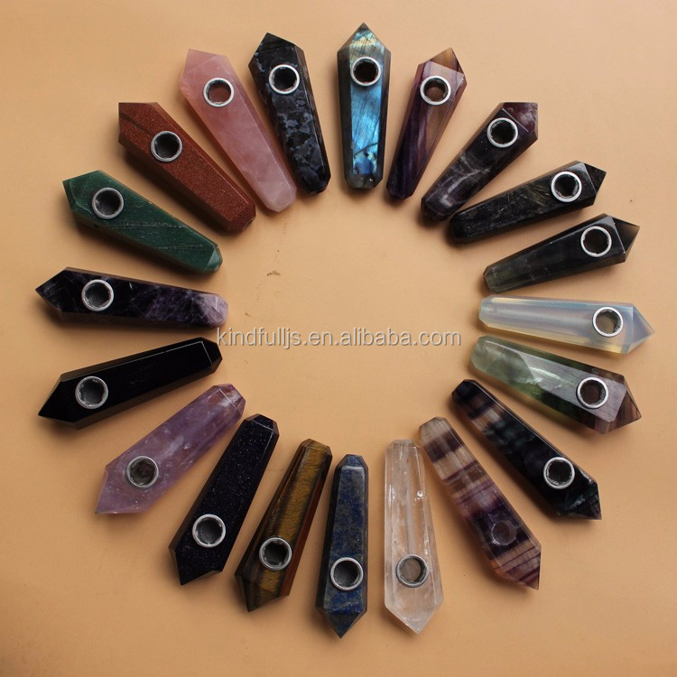Wholesale natural crystal quartz smoking pipes crystal point wand smoking pipe