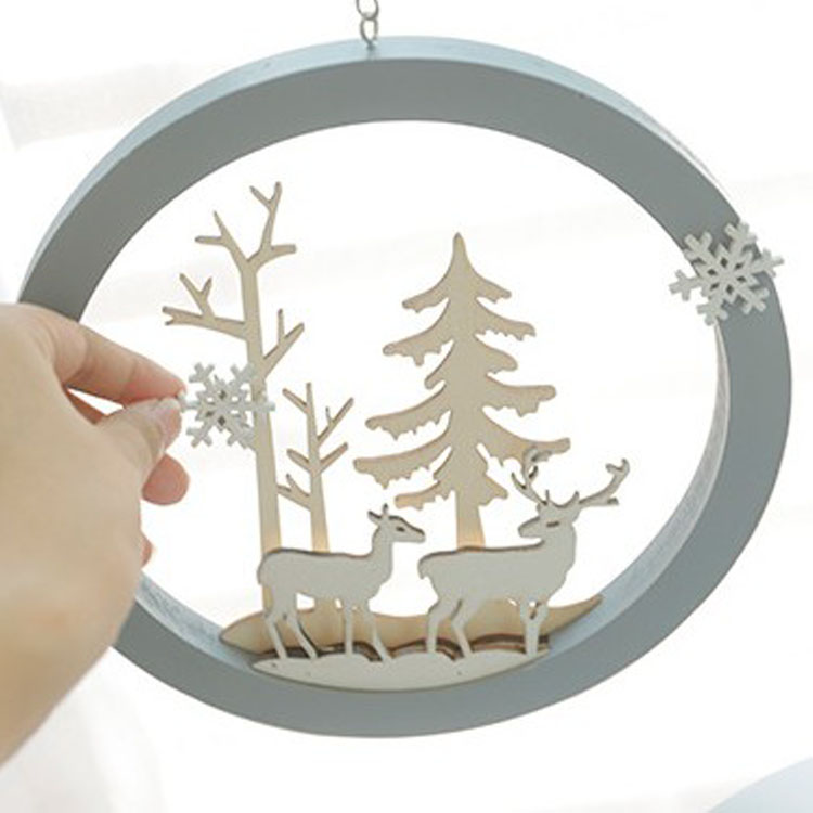 Nordic Style Pendant Christmas Wooden Ornament Outdoor ...