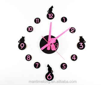 Diy Slaapkamer Decoratie : Mode creatieve cartoon pink leuke kat acryl diy wandklok kinderen