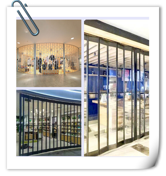 Aluminum frame PC material clear polycarbonate sliding  folding  shop door factory in Guangzhou