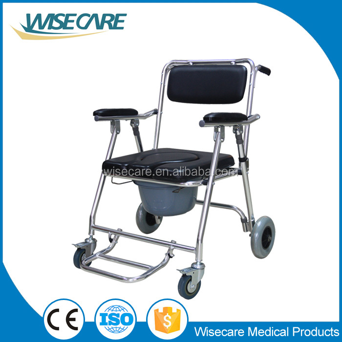 Cheap Price Aluminum Commode Wheelchair Health Care Product Mobile Toilet Chair