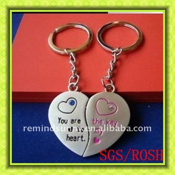 Love You Heart Couple Keychain/Heart Key