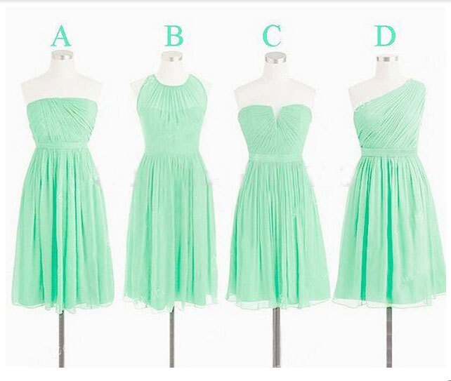 Real Photo Chiffon Junior Turquoise Blue Short Bridesmaid Dresses 2015 Mismatch Cheap Wedding Party Dress Vestidos De Festa