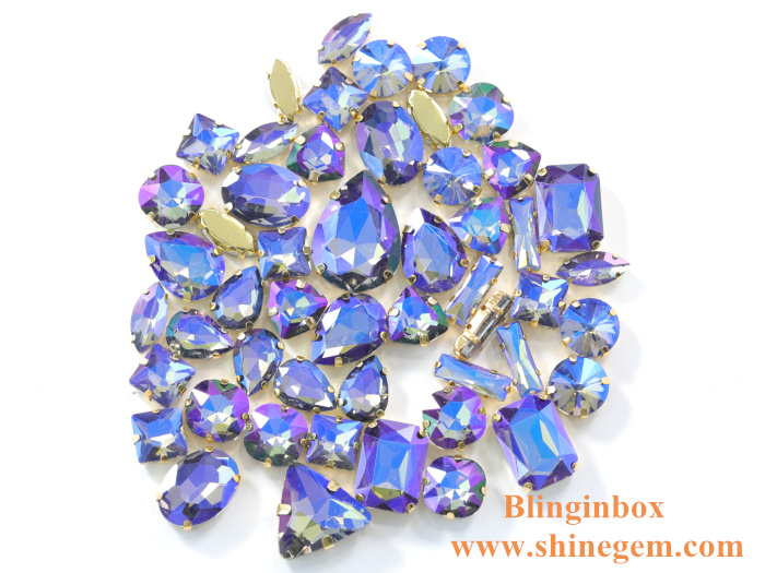 Wholesale mixed shape resin opal sew on claw rhinestone with silver base
