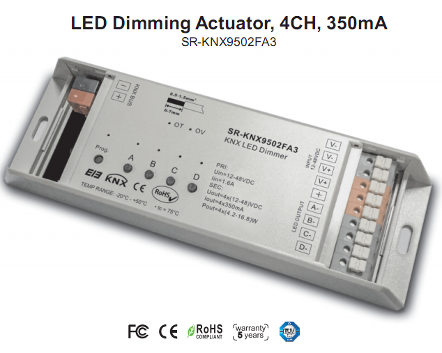 4-channel constant current 350MA KNX LED dimmer for DC LED loads