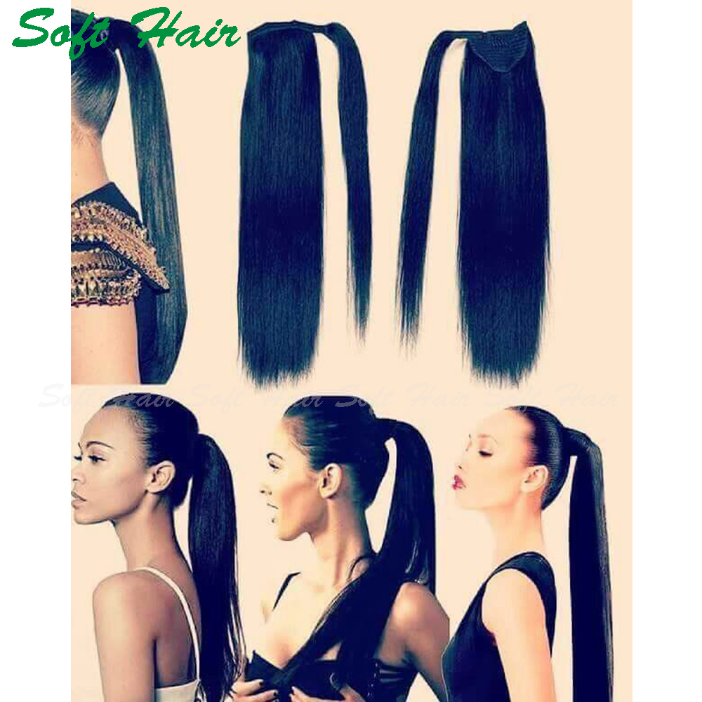 wholesale 7a grade natural black unprocessed virgin brazilian human hair wrap around ponytail yaki