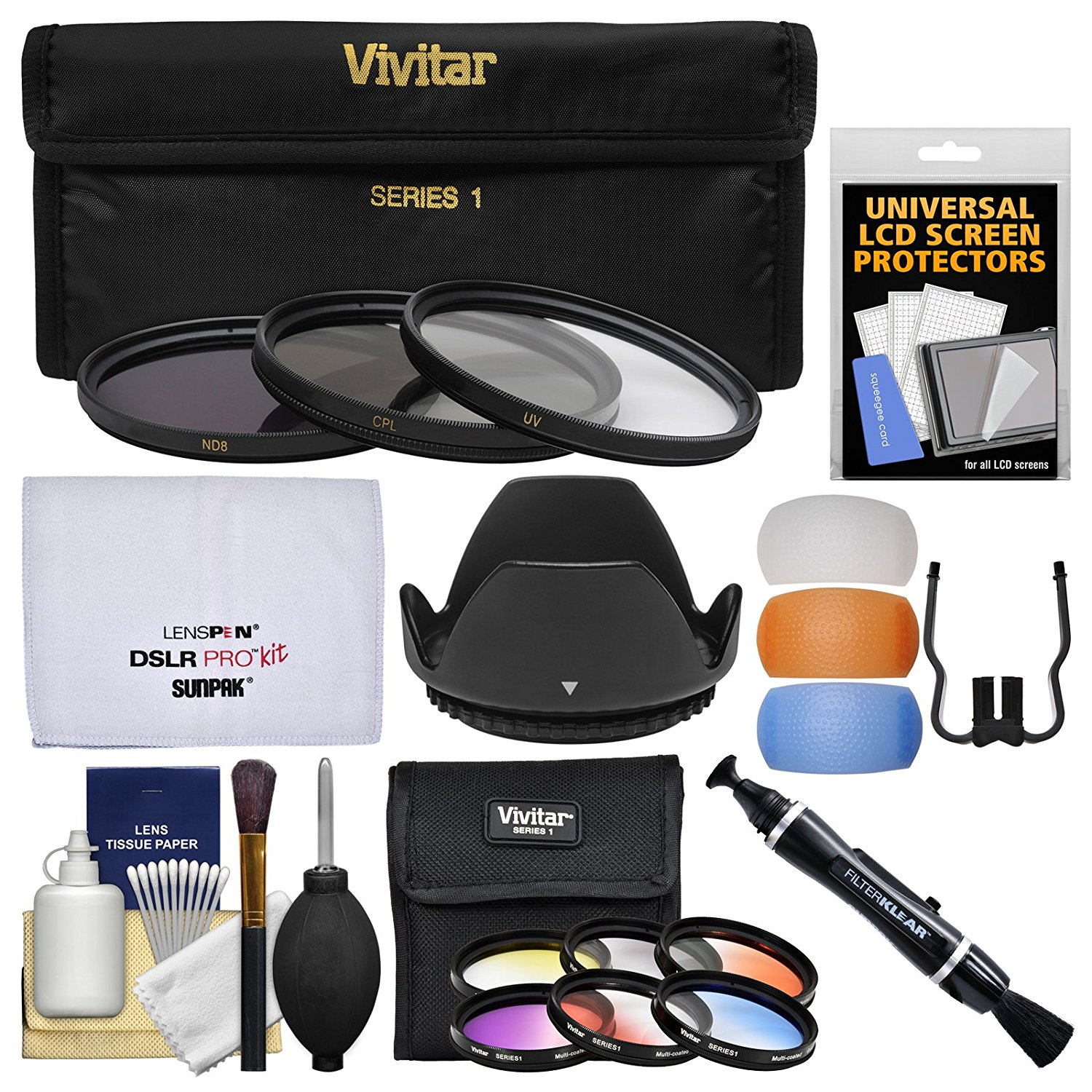 Vivitar 72mm 9-Piece Multi-Coated HD Filter Set (UV/CPL/ND8, 6 Graduated Color Filters) + Lens Hood + Flash Diffusers + Cleaning Kit
