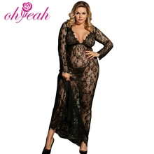 China Groothandel Big Size Zwarte Vrouwen Kant Sexy Transparante Night Gown
