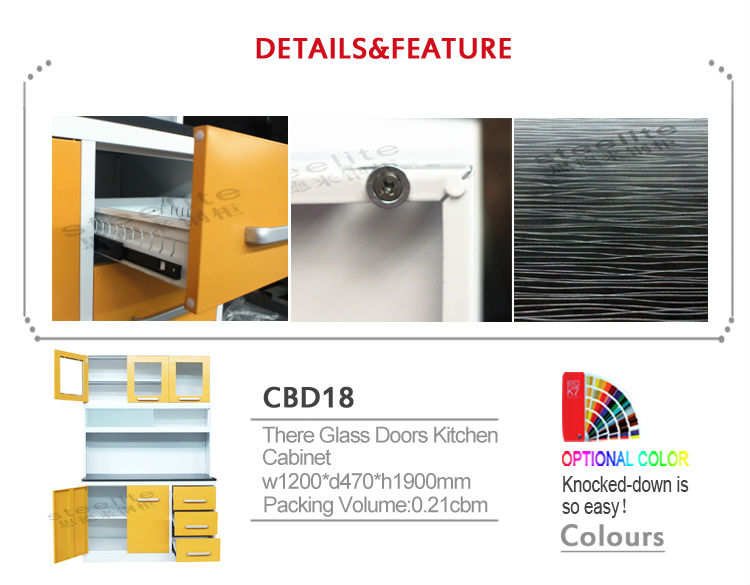 Ready Made Wall Mounted Kitchen Cupboards / Bi-color Metal
