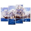 Vintage Style Sailboat War Painting Canvas Printing/Sea Battle Canvas Painting Living Room Study Romm Wall Decor Framed