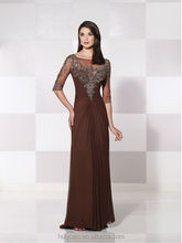 new designer brown chiffon mother dress evening gowns with sleeves