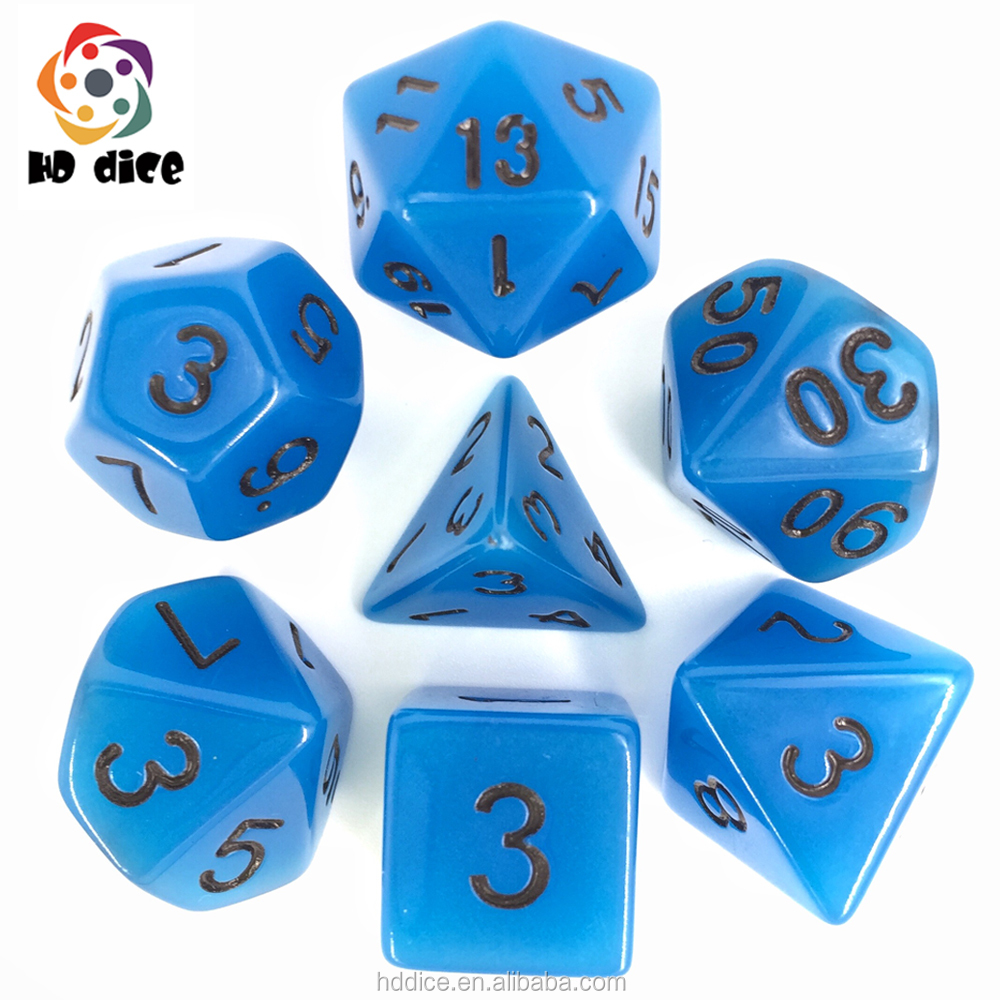 HD Gioco di dadi 7pcs Dadi Poliedrici Set Blue Glow In The Dark dadi