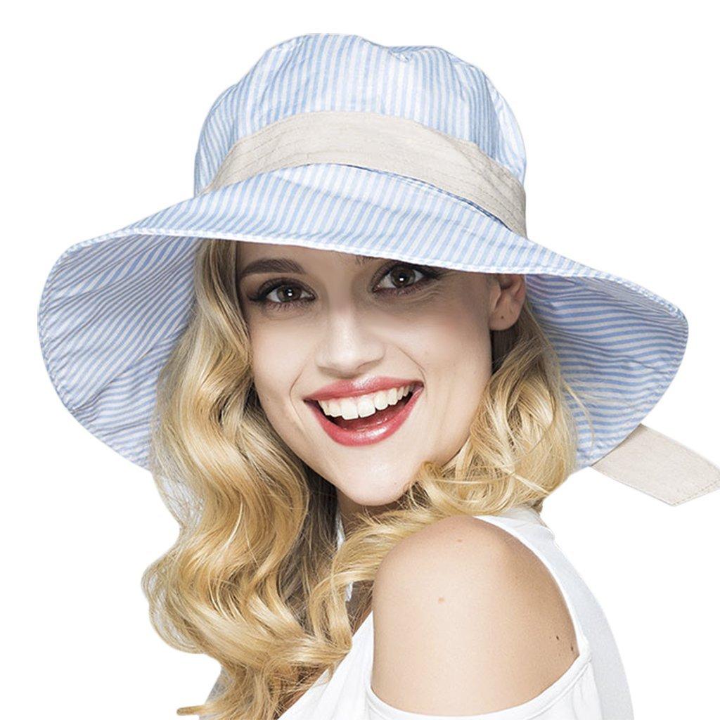 c09e6413 Get Quotations · Womens Fashion Stripes Bucket Hat Summer Flap Cover Cap  Cotton Sun Hat with Bowknot Wide Brim