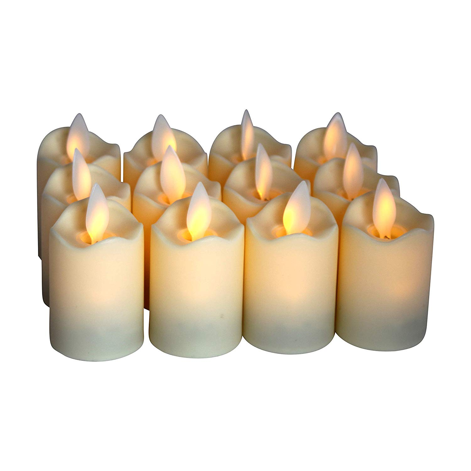 04f79bb2d6 Get Quotations · Flameless Candles - LED Votive Tea Lights - Flickering  Dancing Flame - Battery Operated - Non