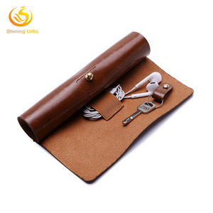 Custom Leather Roll Up Travel Case Pencil Storage Rolling Organizer Keys Holder