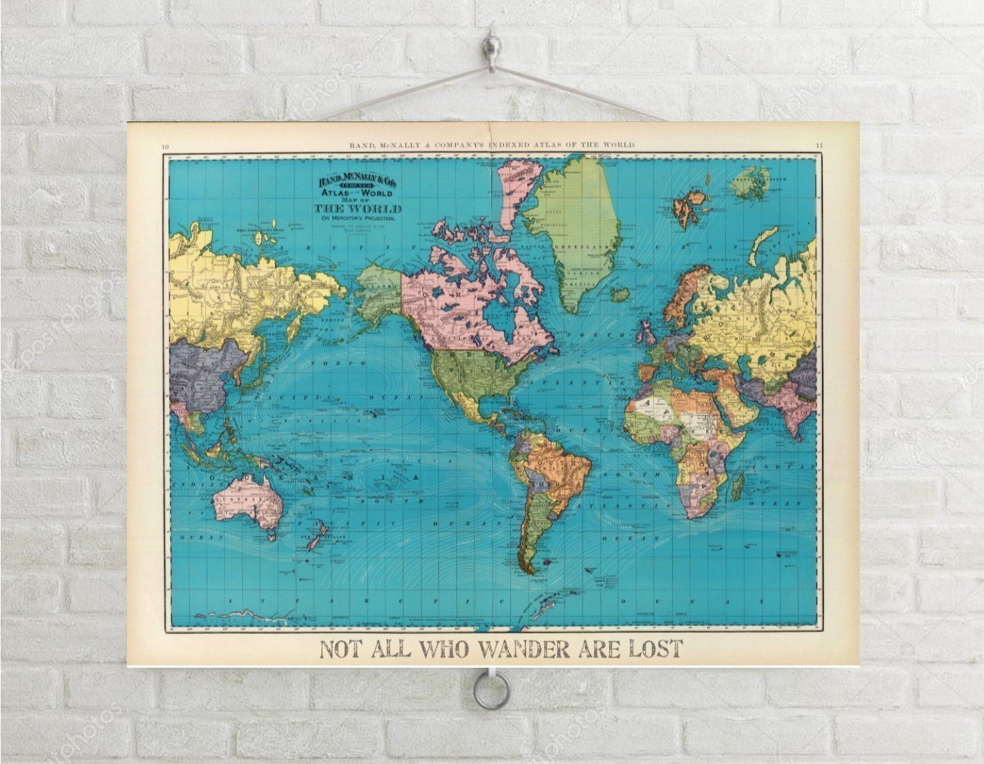 Vintage Map Of World.Buy World Map World Travel Map Vintage Personalized World Map