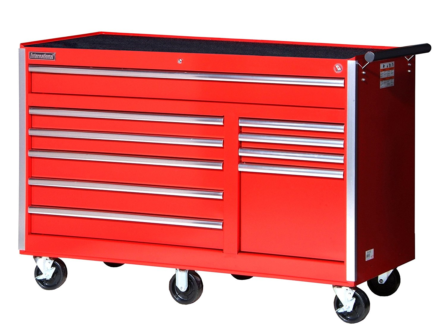 International VRB-5610RD 56-Inch 10 Drawer Red Tool Cabinet with Heavy Duty Ball Bearing Drawer Slides