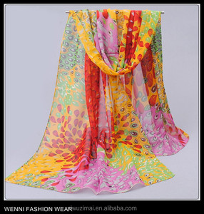 Fashion Women's Long Soft Wrap Lady Shawl Peacock Silk Chiffon Scarf