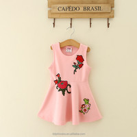 2017 casual frock designs embroidered flowers pink sleeveless embroidered dress