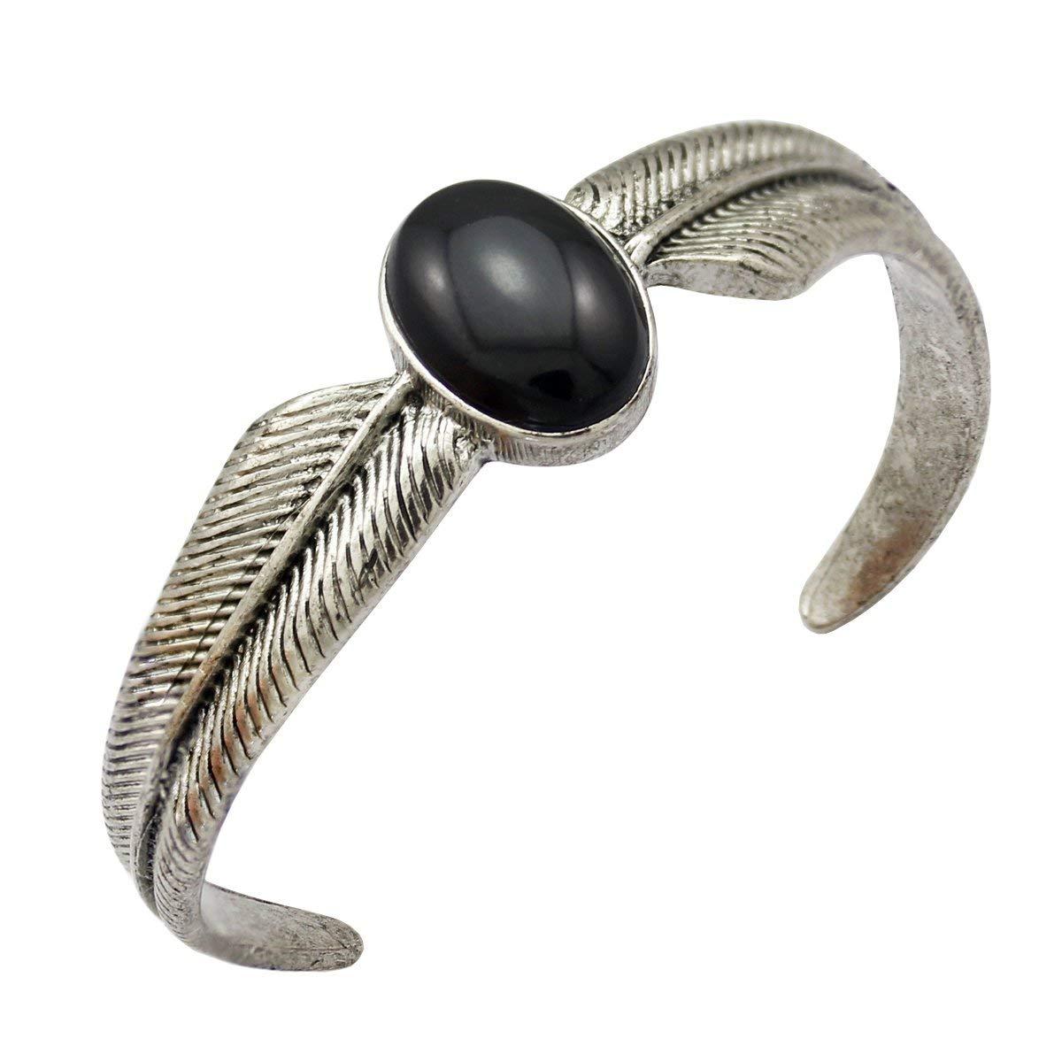 Q&Q Fashion Vintage Silver Wing Feather Black Stone Zuni Navajo Style Bracelet Bangle Cuff