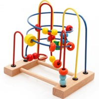 Kids intelligence early learning toys wooden wire round bead maze game