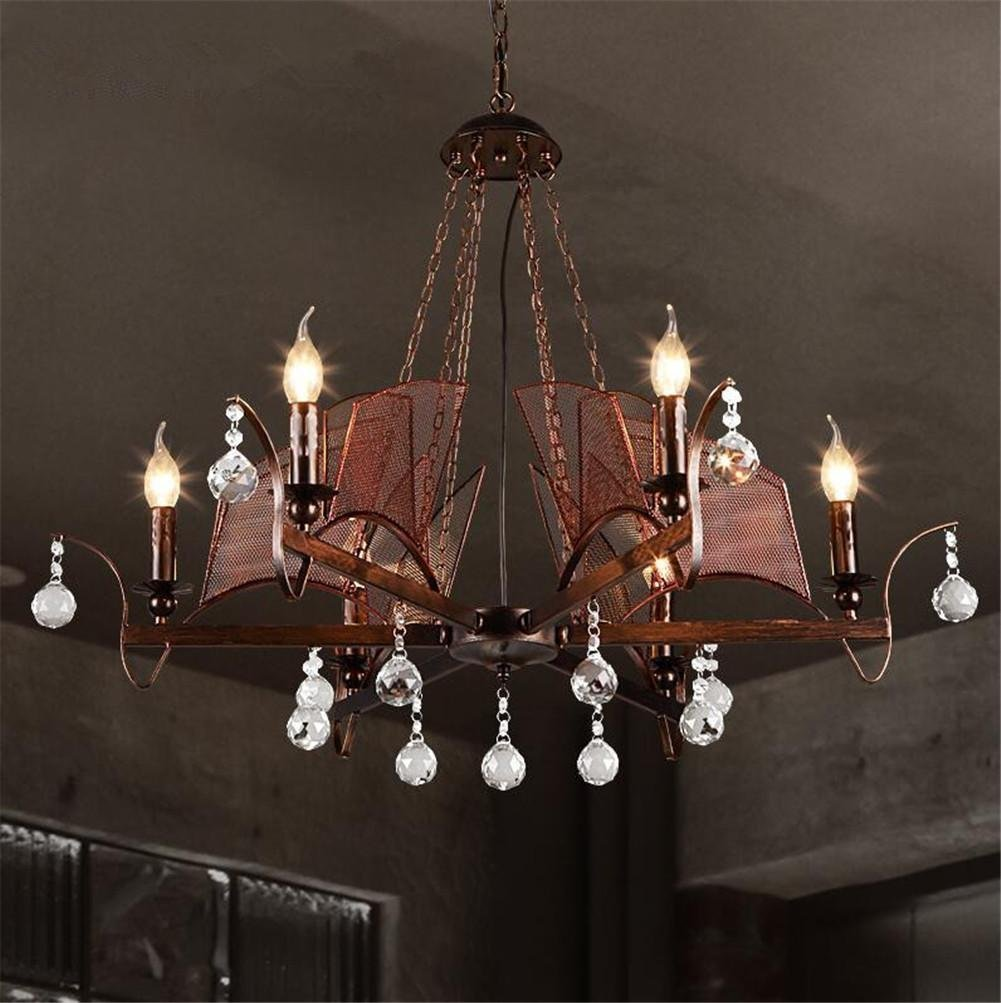 DHXY Retro Chandelier LOFT Industrial Vintage Rusty Color Wrought Iron Pendant Ceiling 6 Lights With Metal Net And Crystal Ball Decoration For Kitchen, Bar, Cafe, Restaurant