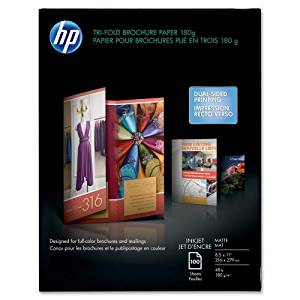 "Wholesale CASE of 10 - HP Glossy Tri-Fold Brochure Paper-Tri-Fold Brochure Paper,Matte,8-1/2""x11"",48Lb,100 Sheets,WE"
