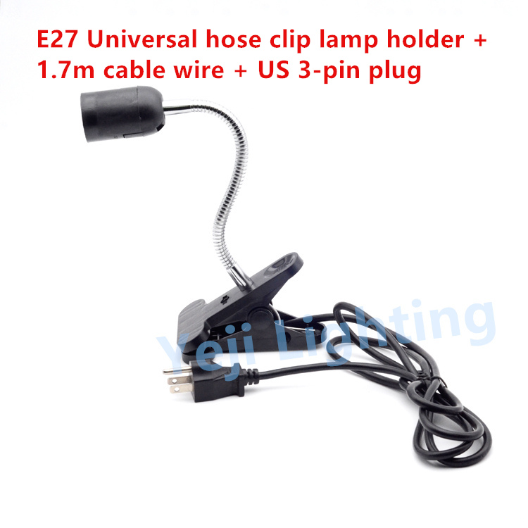 Universal hose clip E27 lamp holder LED hose lamp base US 3 PINS plug E27 edison retro lampholder cord set Lighting accessories