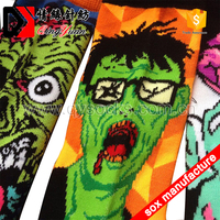 3d printed towel socks man zombie devil skull pattern hip-pop colorful socks compression thermal sublimation socks