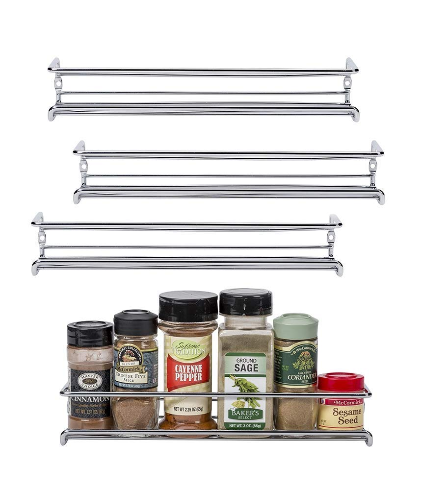 Spice Rack Organizer for Cabinet, Door Mount or Wall Mounted Chrome Tiered Hanging <strong>Shelf</strong> for Spice Jars