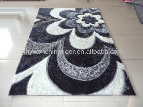 Venta caliente living room te negro, gris y blanco shaggy alfombra ...