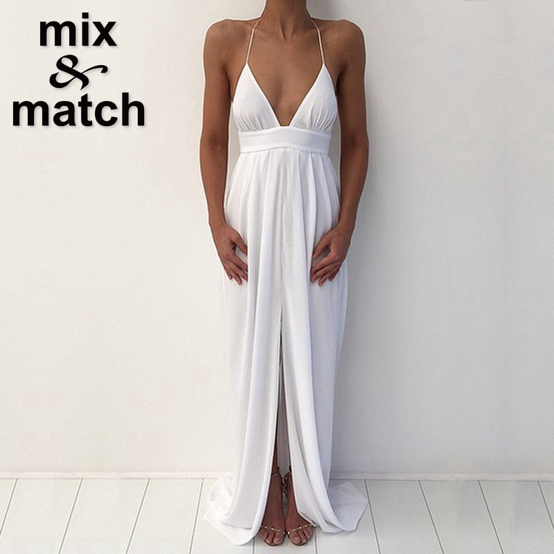 White Chiffon Front Silt Casual Style Backless Halter Top: White Goddess Dress Promotion-Shop For Promotional White